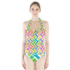 Abstract Pattern Colorful Wallpaper Background Halter Swimsuit