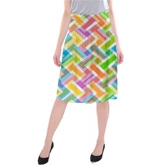 Abstract Pattern Colorful Wallpaper Background Midi Beach Skirt