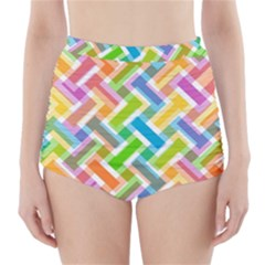 Abstract Pattern Colorful Wallpaper Background High-Waisted Bikini Bottoms