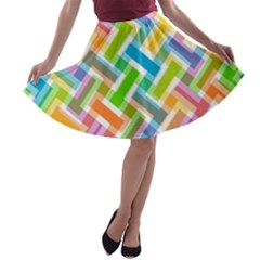 Abstract Pattern Colorful Wallpaper Background A-line Skater Skirt