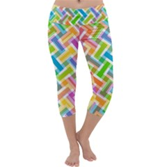 Abstract Pattern Colorful Wallpaper Background Capri Yoga Leggings