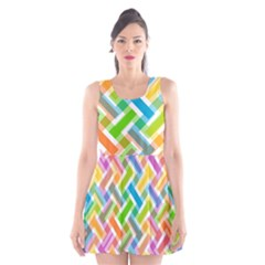 Abstract Pattern Colorful Wallpaper Background Scoop Neck Skater Dress