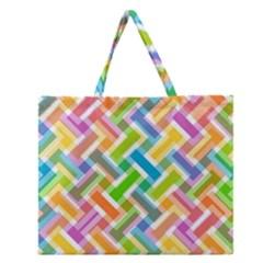 Abstract Pattern Colorful Wallpaper Background Zipper Large Tote Bag by Simbadda