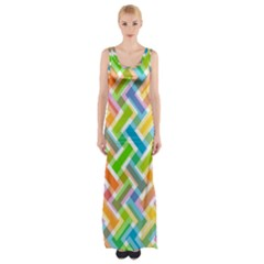 Abstract Pattern Colorful Wallpaper Background Maxi Thigh Split Dress