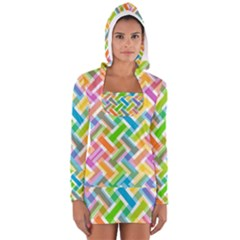 Abstract Pattern Colorful Wallpaper Background Women s Long Sleeve Hooded T-shirt