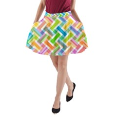 Abstract Pattern Colorful Wallpaper Background A-Line Pocket Skirt