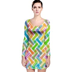 Abstract Pattern Colorful Wallpaper Background Long Sleeve Velvet Bodycon Dress