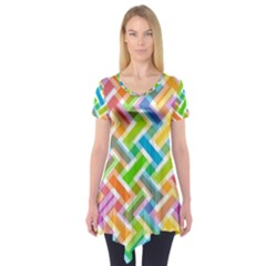 Abstract Pattern Colorful Wallpaper Background Short Sleeve Tunic