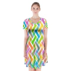 Abstract Pattern Colorful Wallpaper Background Short Sleeve V-neck Flare Dress