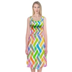 Abstract Pattern Colorful Wallpaper Background Midi Sleeveless Dress
