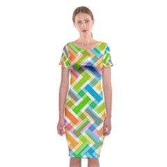 Abstract Pattern Colorful Wallpaper Background Classic Short Sleeve Midi Dress