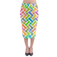 Abstract Pattern Colorful Wallpaper Background Midi Pencil Skirt