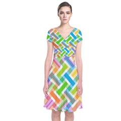 Abstract Pattern Colorful Wallpaper Background Short Sleeve Front Wrap Dress