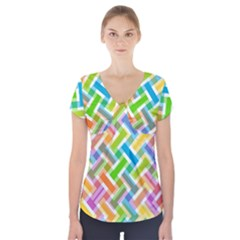 Abstract Pattern Colorful Wallpaper Background Short Sleeve Front Detail Top