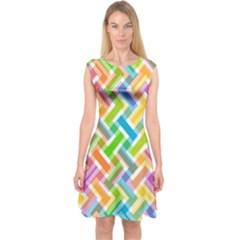 Abstract Pattern Colorful Wallpaper Background Capsleeve Midi Dress