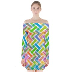 Abstract Pattern Colorful Wallpaper Background Long Sleeve Off Shoulder Dress