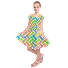 Abstract Pattern Colorful Wallpaper Background Kids  Short Sleeve Dress