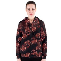 Fractal Chocolate Balls On Black Background Women s Zipper Hoodie