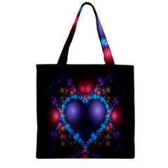 Blue Heart Fractal Image With Help From A Script Zipper Grocery Tote Bag by Simbadda