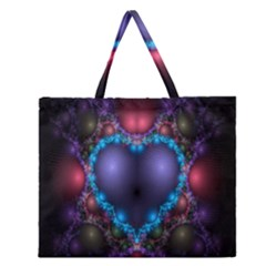 Blue Heart Fractal Image With Help From A Script Zipper Large Tote Bag by Simbadda