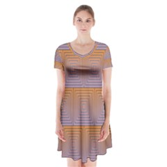 Brick Wall Squared Concentric Squares Short Sleeve V Neck Flare Dress