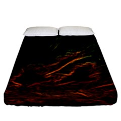 Abstract Glowing Edges Fitted Sheet (california King Size) by Simbadda