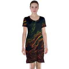 Abstract Glowing Edges Short Sleeve Nightdress