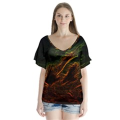 Abstract Glowing Edges Flutter Sleeve Top by Simbadda