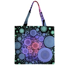 An Abstract Background Consisting Of Pastel Colored Circle Zipper Grocery Tote Bag by Simbadda