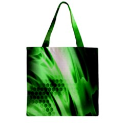 Abstract Background Green Zipper Grocery Tote Bag by Simbadda