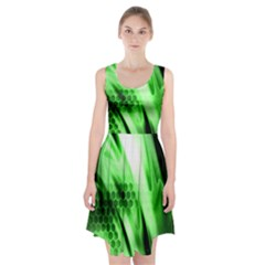 Abstract Background Green Racerback Midi Dress
