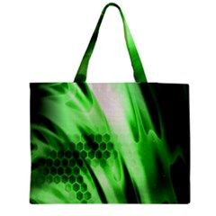Abstract Background Green Medium Zipper Tote Bag by Simbadda