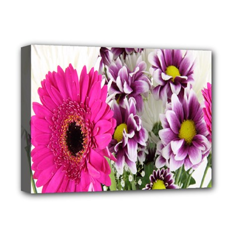 Purple White Flower Bouquet Deluxe Canvas 16  X 12   by Simbadda