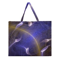 Fractal Magic Flames In 3d Glass Frame Zipper Large Tote Bag by Simbadda