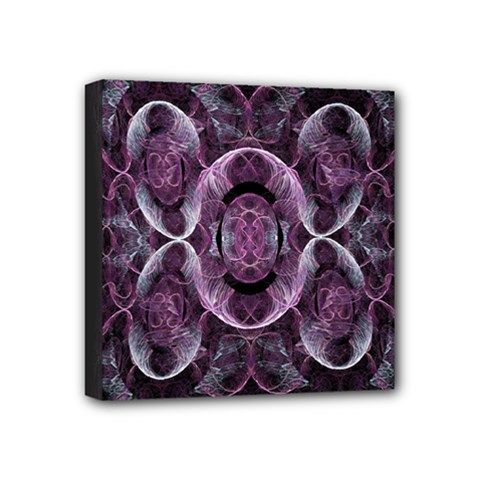 Fractal In Lovely Swirls Of Purple And Blue Mini Canvas 4  X 4  by Simbadda