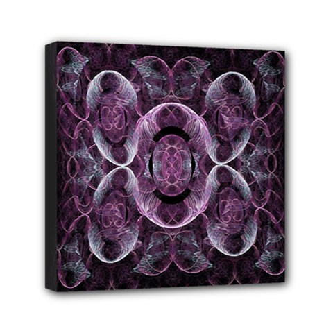 Fractal In Lovely Swirls Of Purple And Blue Mini Canvas 6  X 6  by Simbadda