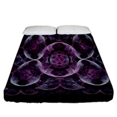 Fractal In Lovely Swirls Of Purple And Blue Fitted Sheet (california King Size) by Simbadda