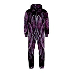 Fractal In Lovely Swirls Of Purple And Blue Hooded Jumpsuit (kids)