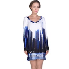 Abstract Of Downtown Chicago Effects Long Sleeve Nightdress