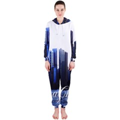 Abstract Of Downtown Chicago Effects Hooded Jumpsuit (ladies)