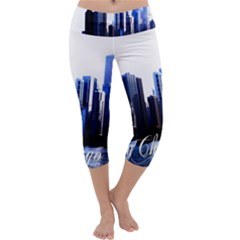 Abstract Of Downtown Chicago Effects Capri Yoga Leggings