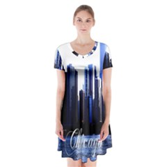 Abstract Of Downtown Chicago Effects Short Sleeve V Neck Flare Dress