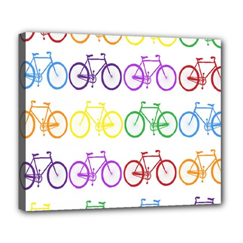 Rainbow Colors Bright Colorful Bicycles Wallpaper Background Deluxe Canvas 24  X 20   by Simbadda