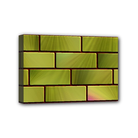 Modern Green Bricks Background Image Mini Canvas 6  X 4  by Simbadda