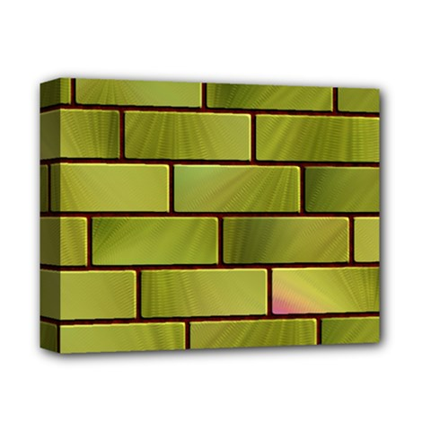 Modern Green Bricks Background Image Deluxe Canvas 14  X 11  by Simbadda