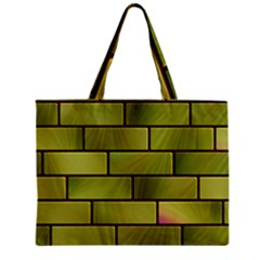 Modern Green Bricks Background Image Zipper Mini Tote Bag by Simbadda