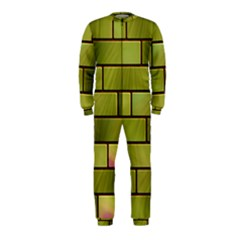 Modern Green Bricks Background Image Onepiece Jumpsuit (kids) by Simbadda