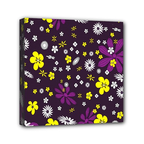 Flowers Floral Background Colorful Vintage Retro Busy Wallpaper Mini Canvas 6  X 6  by Simbadda
