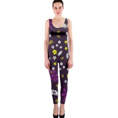 Flowers Floral Background Colorful Vintage Retro Busy Wallpaper Onepiece Catsuit