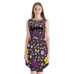 Flowers Floral Background Colorful Vintage Retro Busy Wallpaper Sleeveless Chiffon Dress